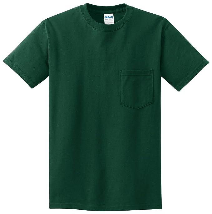gildan-ultra algodón 100% algodón camiseta con bolsillo (bosque)