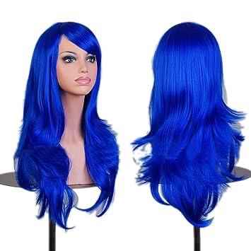STONG Bella Peluca larga Rizada Cabello Cosplay 12 colors Peluca de Pelo Anime - Azul