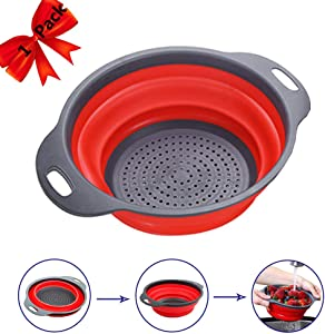 Colander with Handles, Collapsible Strainers and Colanders for Vegetables, Fruits, Pasta Draining 4 Quart Foldable & Space Saving Strainer…
