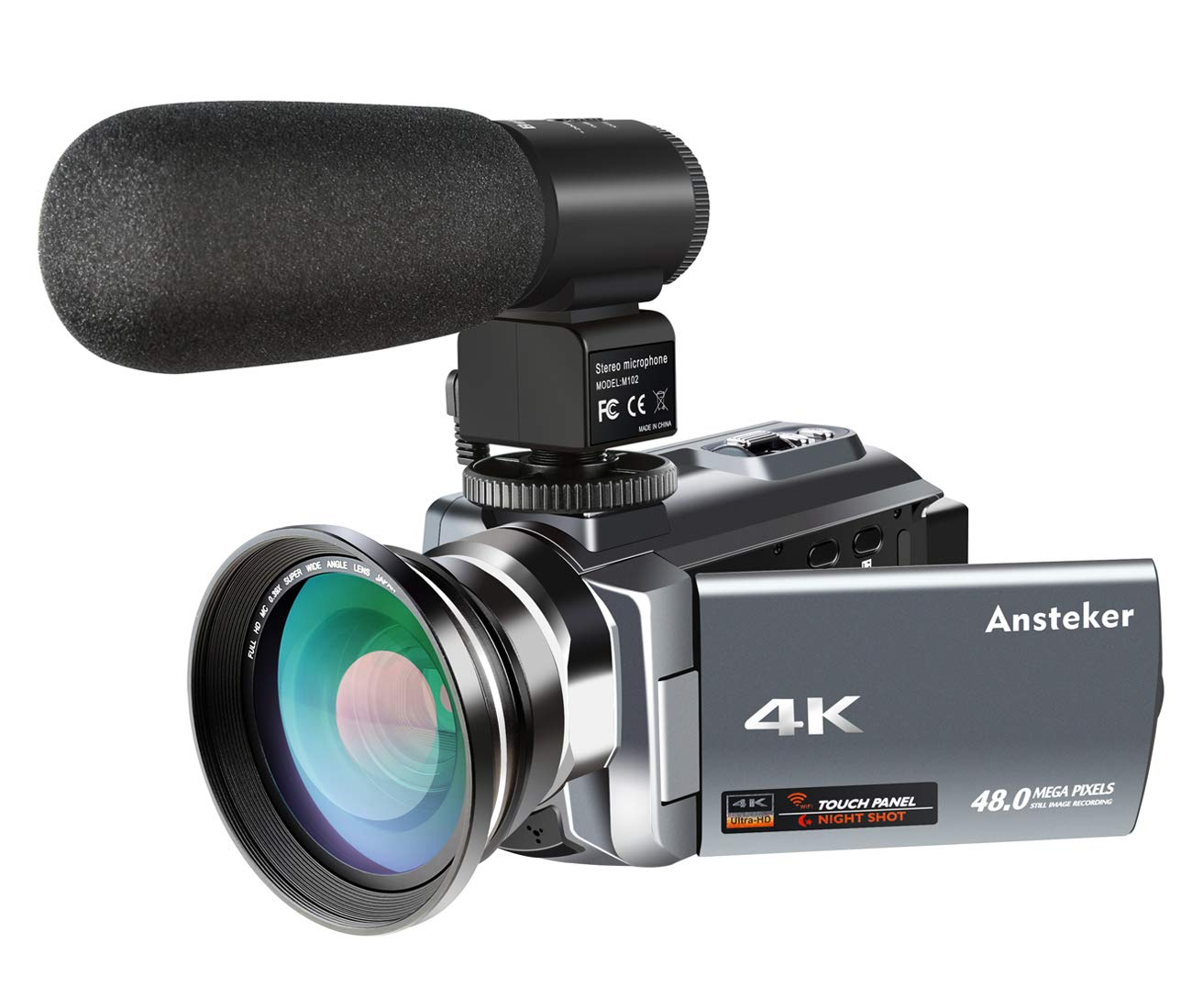 4K Camcorder,Ansteker 48MP 30FPS Ultra HD WiFi Video Camera IR Night Vision Digital Camcorder Portable 3 inch Touch Screen Video Camera Camcorder with External Microphone and Wide Angle Lens R-4KDV-M-L