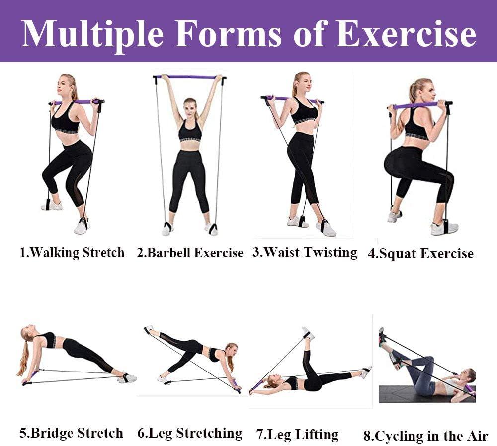 Pilates Bar Kit with Resistance Band Pilates Exercise Stick Toning Bar Squat