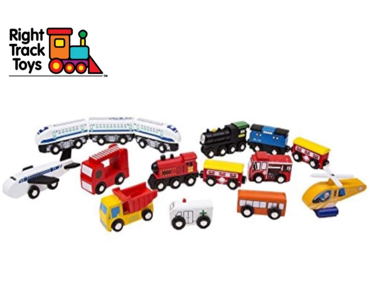 Wooden Train Car Set - 15 Unique Magnetic Vehicles And Engines - Add Variety To Your Set With Ambulance, Helicopter, Dump Truck and More - Compatible With Thomas, BRIO, All Major Brands by Right Track Toys