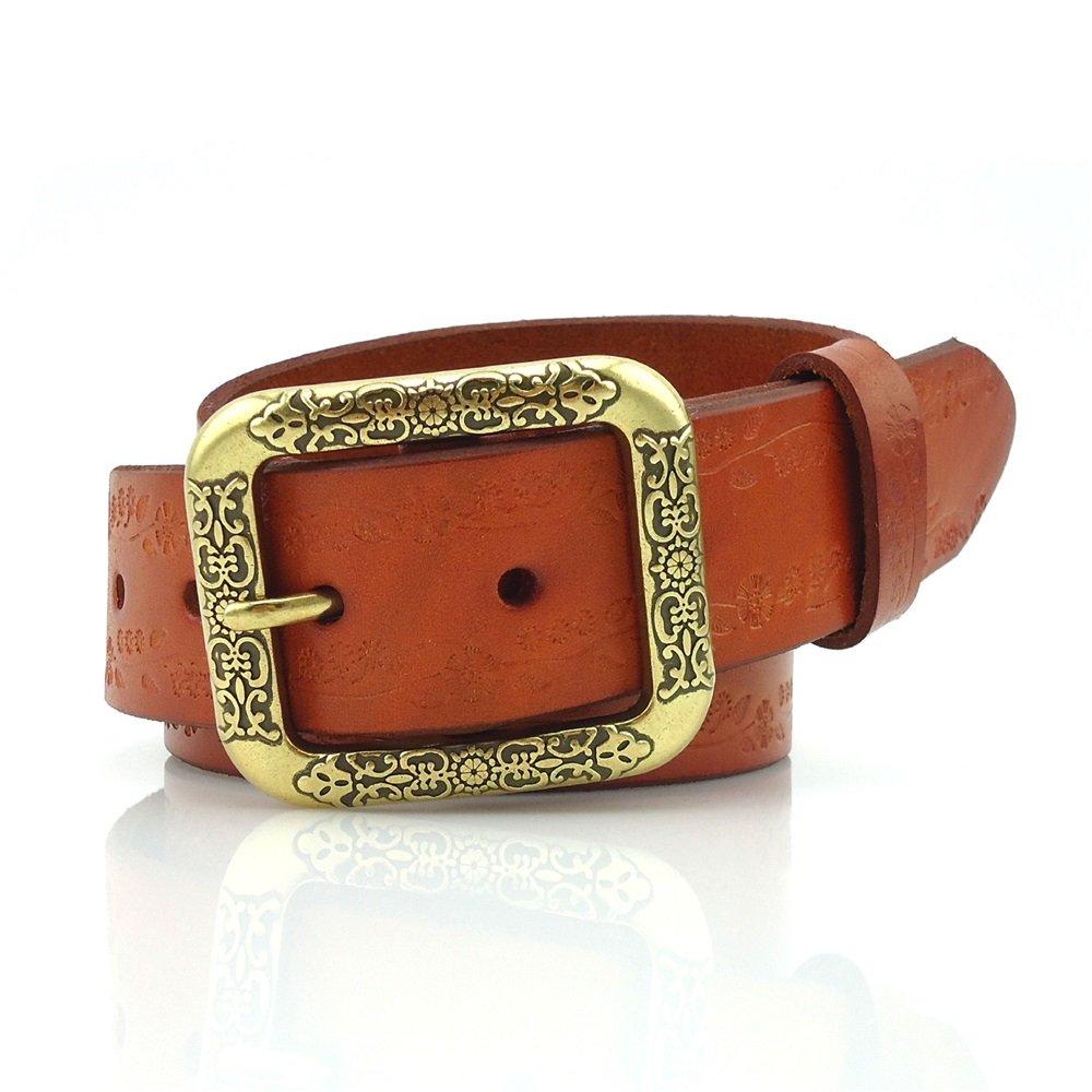 Junjiagao Herren Gürtel Geschnitzter Ledergürtel Damen Accessoires Geprägter Ledergürtel (Farbe   Orange, Größe   XXL)