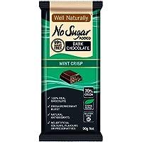 WELL NATURALLY No Sugar Added Mint Crisp Dark Chocolate, 90 g