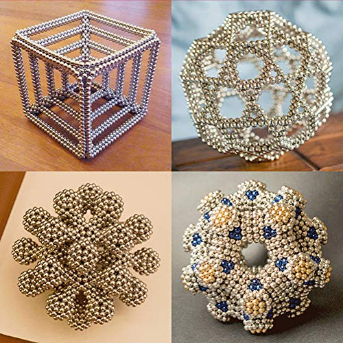 aBrilliantLife 5MM 1000 Pieces Magnetic Balls Toys Sculpture Building Magnetic Blocks Magnets Cube Gift for Intellectual Development -Office Toy Stress Relief Gifts for Teens and Adult-Sliver by aBrilliantLife (Image #4)