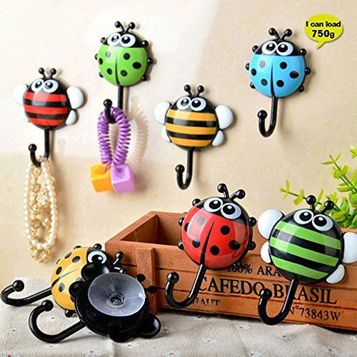 Dirance 2 PCs Wall Hooks Sucker Adhesive, Cute Cartoon Ladybug Bee Wall Hanger Heavy Duty Decorative Without Nails for Towel Coats Hats Keys Bags Bathroom Kitchen (Color Random) Ladybug Hooks