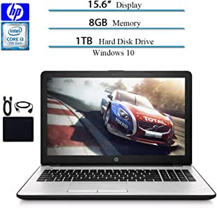 "HP 15.6"" HD 2019 Laptop Computer Notebook, Intel i3-7100U 2.40GHz, 8GB RAM, 1TB HDD, WiFi, Bluetooth, Windows 10 w/ Hesvap Accessories"