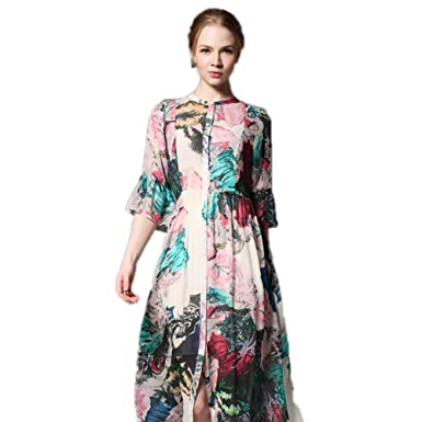 Cotyledon 2018 New Fashion Casual Dresses Short Sleeve V Neck Silk