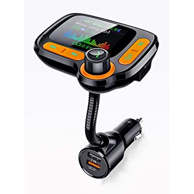 Car Calling Hands Free Adapter, Bluetooth FM Transmitter for Calls& Music, Dual USB Charger, TF Card & USB Flash Drive, Compatible with iPhone,iPad, Samsung Galaxy, HTC, iOS, Android Phone: Car Electronics