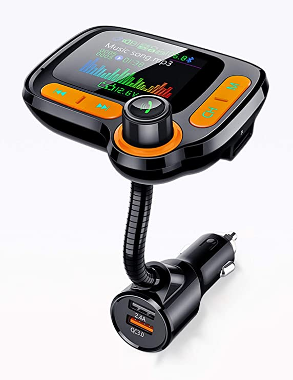 Bluetooth FM Transmitter for Calls& Music, Dual USB Charger