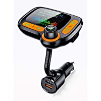 Car Calling Hands Free Adapter, Bluetooth FM Transmitter for Calls& Music, Dual USB Charger, TF Card & USB Flash Drive, Compatible with iPhone,iPad, Samsung Galaxy, HTC, iOS, Android Phone