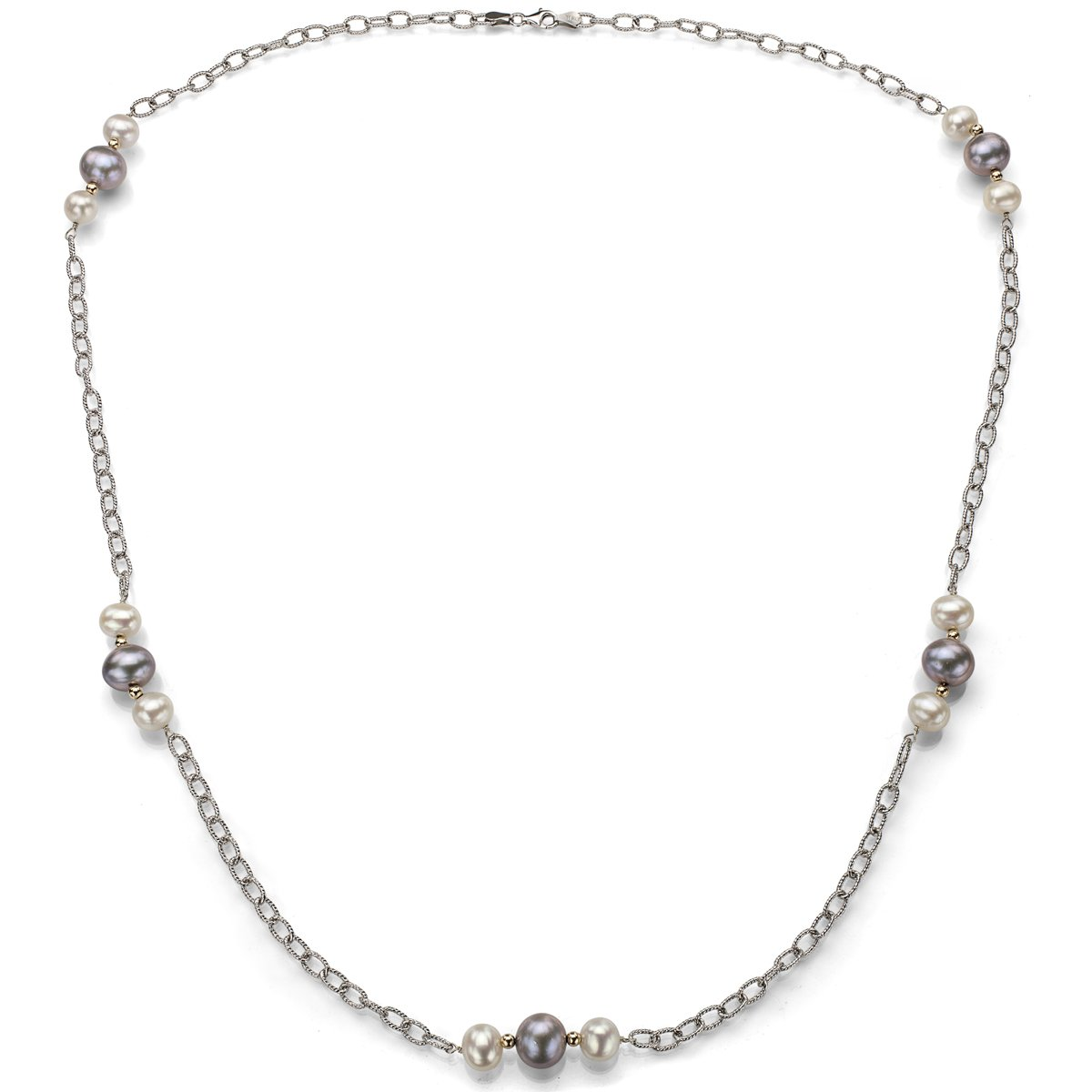 La Regis Jewelry Sterling Silver 8-8.5mm White and 10-10.5mm Dyed-grey Freshwater Cultured Pearl Necklace, 30''