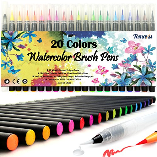 Tomaxis Watercolor Brush Pens Art Markers, Art Supplies 20Pcs Brush Marker Pens Colored Pens Script Paintbrush for Calligraphy with 1 Water Paintbrush Felt Tip Pen by Tomaxis