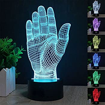 PRY-OOO 3D Effect Lamp Optical LED Illusion Lamp Desk Table Night Light Remote Control Hand Model Glow Lamps 7 color Change for Children Home Decoration Birthday Gift