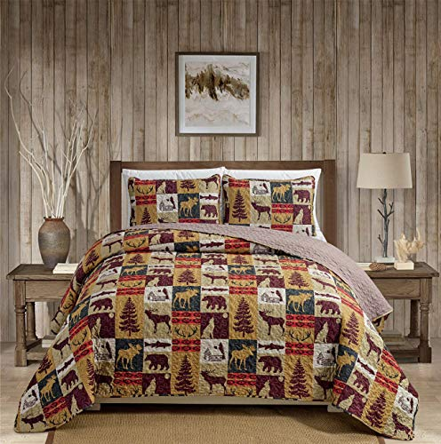 Rugs 4 Less Rustic Cabin Lodge Quilt Stitched Bedspread Coverlet Bedding Set with Patchwork of Wildlife Moose Grizzly Bears Deer Buck Antlers and Tribal Southwest Patterns - Western 3 (Twin) (Bedspread Cabin)