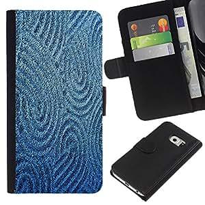 All Phone Most Case / Oferta Especial Cáscara Funda de cuero Monedero Cubierta de proteccion Caso / Wallet Case for Samsung Galaxy S6 EDGE // Sand Drawing Sturcture Pattern Blue Sea