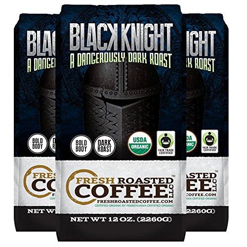 Organic Black Knight Dark Roast Coffee, 12 oz. Whole Bean Bags, Artisan Blend, Fair Trade, Fresh Roasted Coffee LLC. (3 Pack - Whole Bean) (Three Knights Pack)