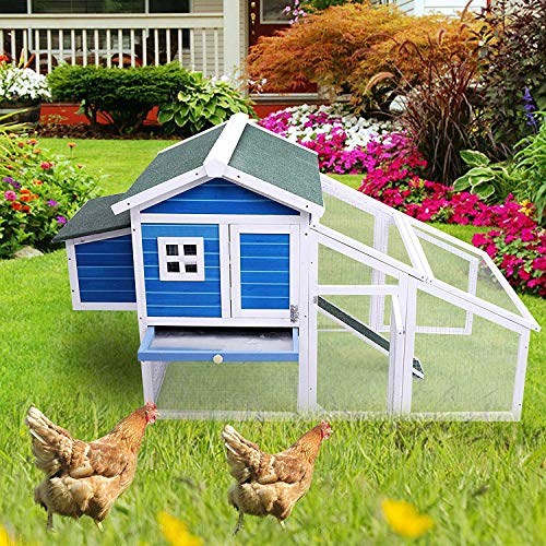 - Livebest Large Pet Cage Rabbit Hutch Chicken Coop Cat House Mesh Wire Wooden Small Animals Home Playpen for Bunny Kitty (Blue)