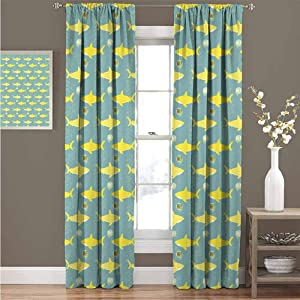 Shark 99% Blackout Curtains Yellow Silhouettes Saying Hi Great Fish with Friendly Representation for Bedroom Kindergarten Living Room W72 x L84 Inch Yellow White Pale Sea Green