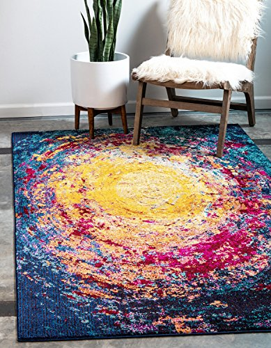 Unique Loom Estrella Collection Colorful Abstract Multi Area Rug (5