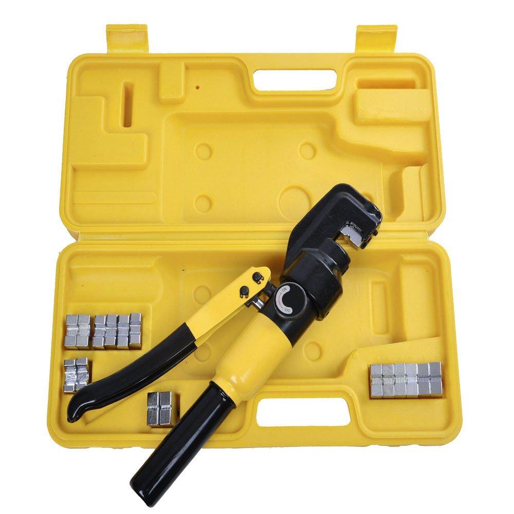 8 toneladas hidráulico Cable crimpadora - crimpadora con 9 Dies Cable de la batería Lug Terminal eléctrico Kit de herramienta de prensa: Amazon.es: ...