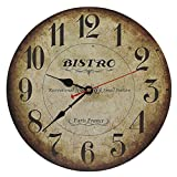 old oak - Old Oak 14-Inch Decorative Wall Clock Vintage Silent Non-Ticking Battery Operated Rustic for Living Room Kitchen Bathroom Bedroom Wall Decor with Large Arabic Numerals