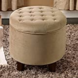 Kinfine USA Large Round Button Tufted Storage Ottoman