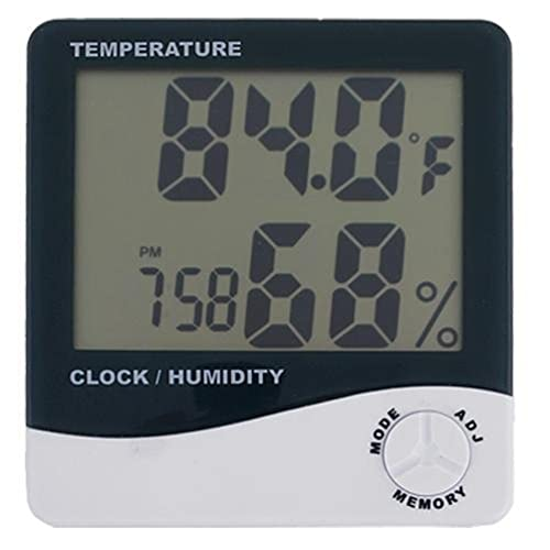 AKORD LCD Digital Temperature Humidity Meter Thermometer, White