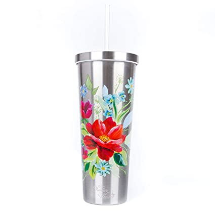 b3f85867f8f The Pioneer Woman Stainless Steel Tumbler Travel Cup 24 Oz Insulated Floral  Silver