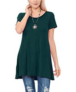 9cde7aac735 TOPONSKY Women's Flow Tunic Shirts Short Sleeve Scoop Neck Loose Fit Casual  Top