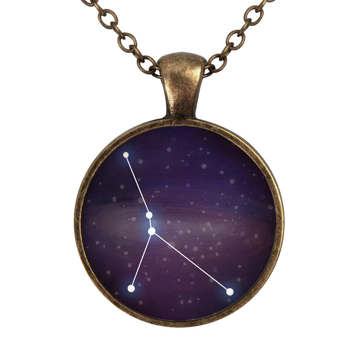 Lightrain Constellation Cancer Pendant Necklace Vintage Bronze Chain Statement Necklace Handmade Jewelry Gifts