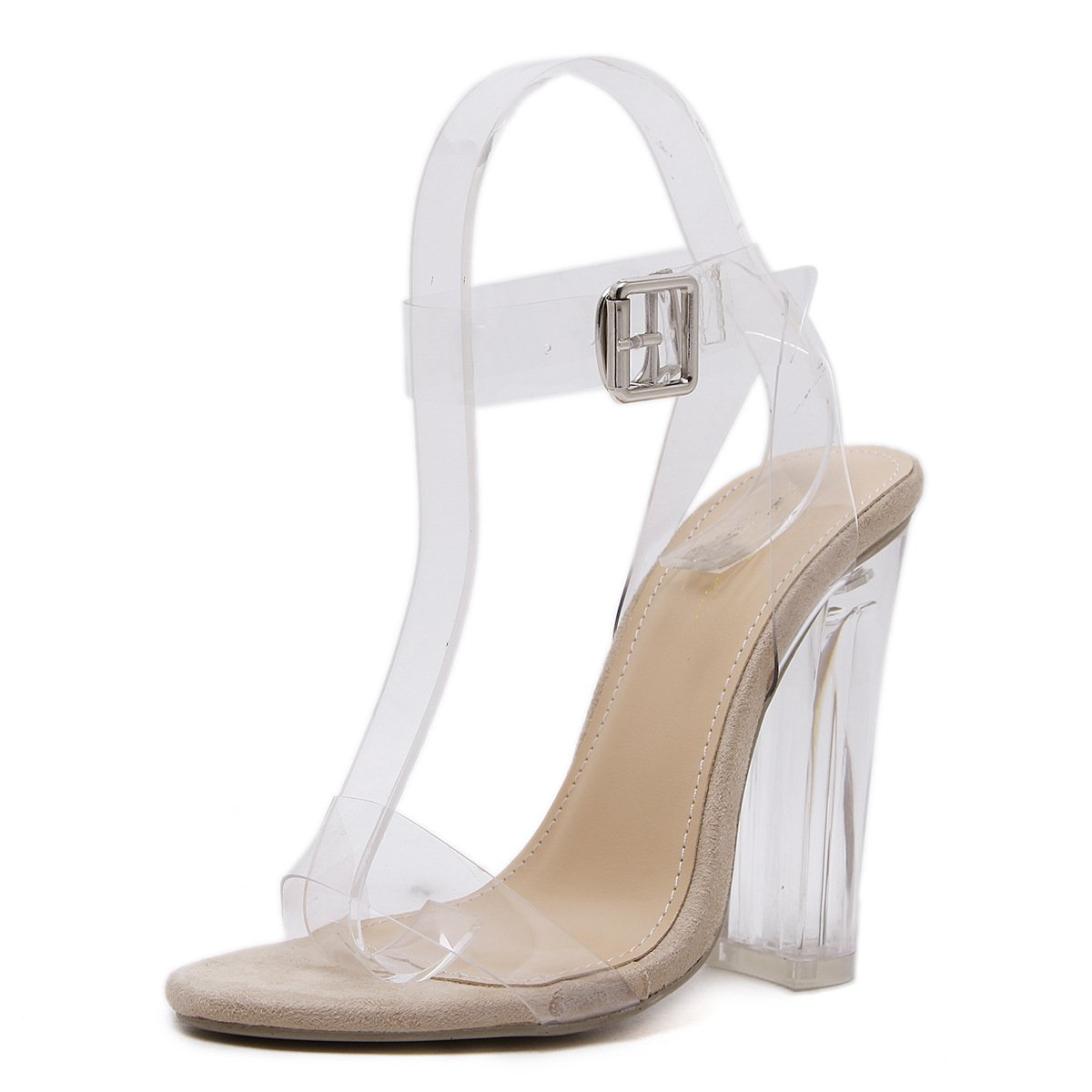 RUGAI-UE Frauen High Heel Sandaletten europäische und amerikanische einfache transparente und grobe Ferse Sandalen