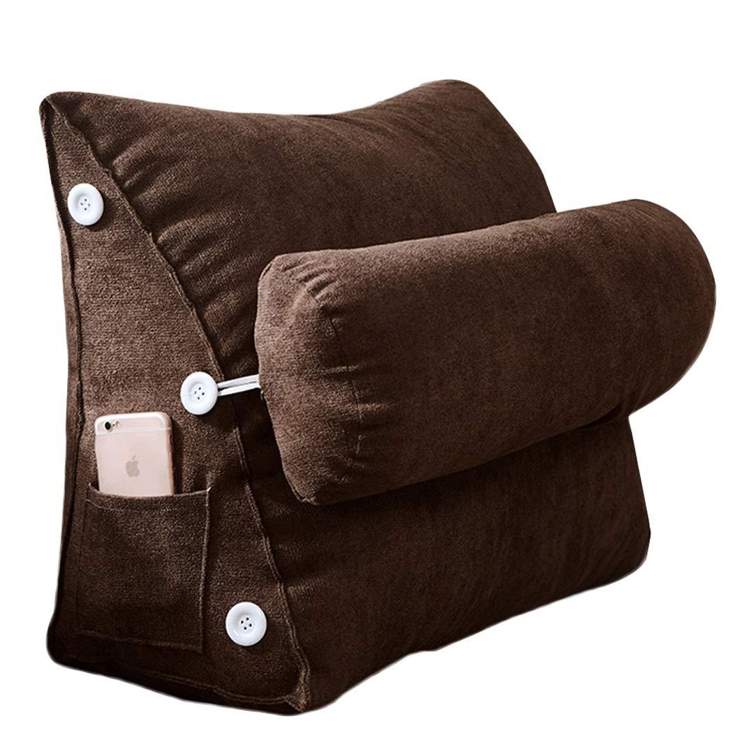 YONGYONG シンプルなベッドサイドトライアングルバッククッション出窓枕ソファ大きなクッションジッパー取り外し可能と洗えるPP綿45 cm * 25 cm * 50 cm、60 cm * 25 cm * 50 cm (色 : Brown, サイズ さいず : 60cm*25cm*50cm) 60cm*25cm*50cm Brown B07P4LHDH3