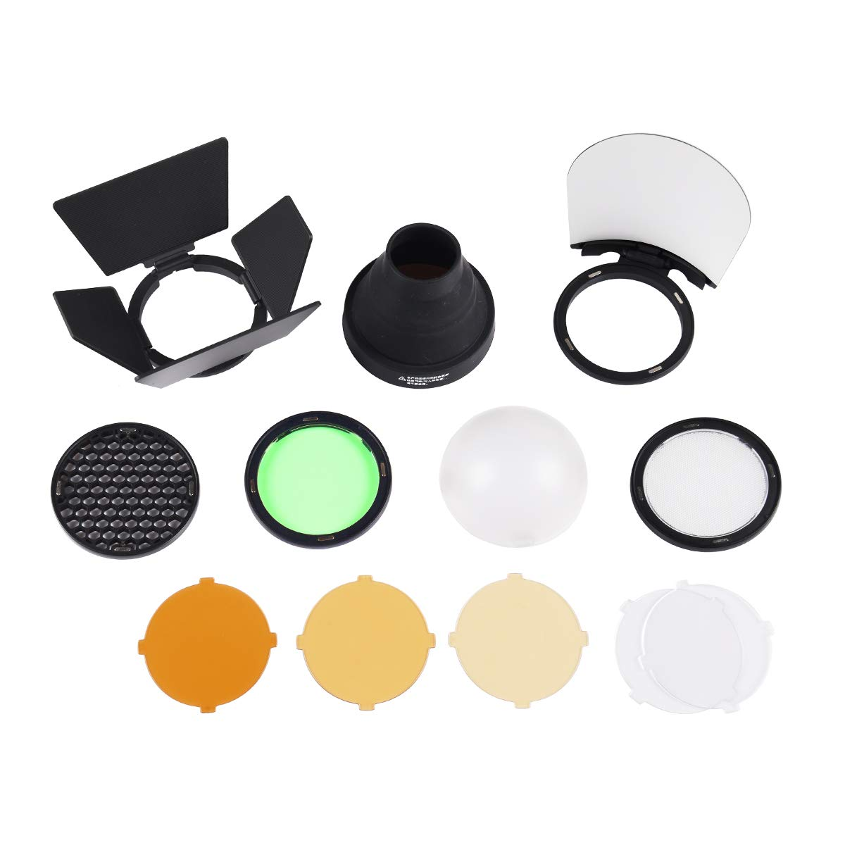 Godox AK-R1 Barn Door, Snoot, Color Filter, Reflector, Honeycomb, Diffuser Ball Kits for Godox H200R Round Flash Head, AD200 Accessories by Godox