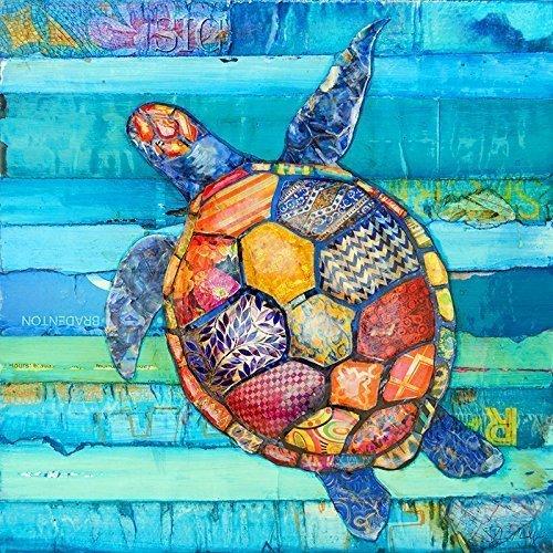 Honu Sea turtle mixed media collage fine art by Danny Phillips, Hawaiin Beach & Coastal decor, nursery room wall art, Nautical decor, Best selling wall art, All Sizes