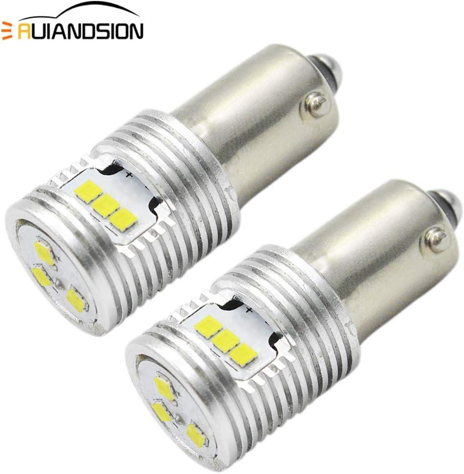 Ruiandsion - 2 bombillas LED Canbus BAX9S H6W 64132 38161 de 12 V-24 V extremadamente brillantes CSP 9SMD chipsets utilizados para luces de lectura de estacionamiento, no polaridad
