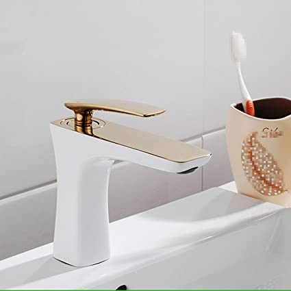 Bijjaladeva Cascada Grifo del Fregadero del baño El Moderno asador Todo Cobre Oro Pintado de Blanco