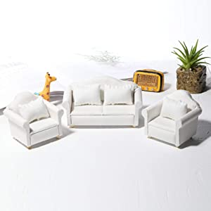 helegeSONG 1/12 Dollhouse White Fabric Sofa Set for 1:12 Scales Miniature Dollhouse Furniture Toy Kids Gift C