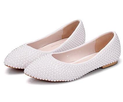 MSFS Zapatos De Mujeres Mocasines Planos Boda Bailarina Perla Novia Fiesta Tamaño 35 A 42,