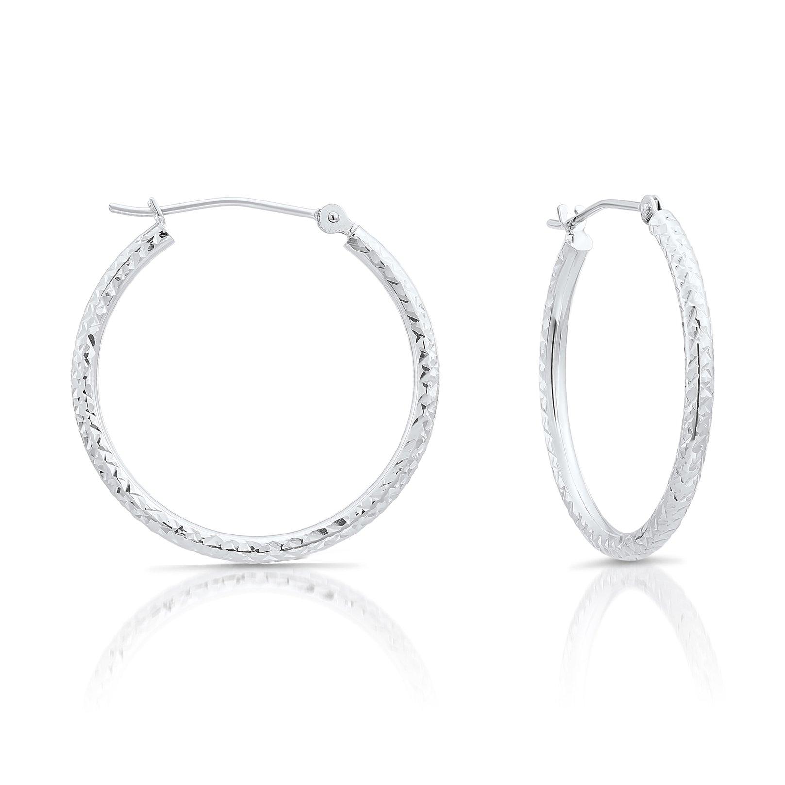 14k White Gold Fancy Diamond-cut Round Hoop Earrings, 1'' Diameter