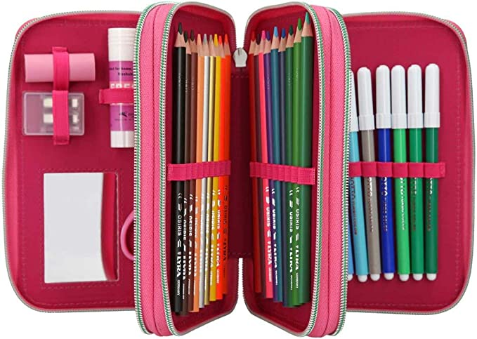 Estuche TOPModel de 3 compartimentos, modelo rosa, Talita Depesche: Amazon.es: Oficina y papelería