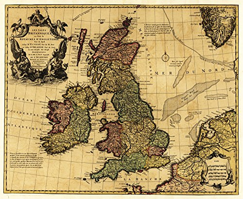 (Great Britain - (1700) - Panoramic Map (12x18 Fine Art Print, Home Wall Decor Artwork Poster))