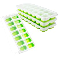 OMorc Ice Cube Trays 4 Pack, Easy-Release Silicone and Flexible 14-Ice Trays with Spill-Resistant Removable Lid, LFGB Certified & BPA Free, Stackable