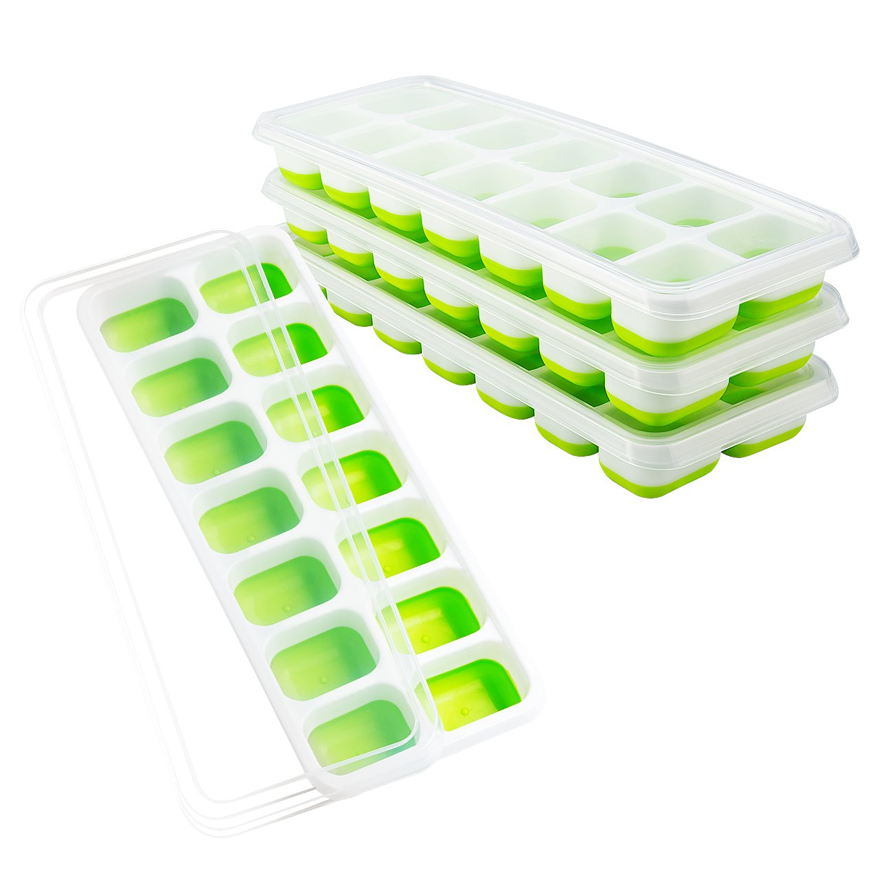 OMorc Ice Cube Trays 4 Pack, Easy-Release Silicone and Flexible 14-Ice Trays with Spill-Resistant Removable Lid, LFGB Certified and BPA Free, Stackable Durable and Dishwasher Safe by OMORC