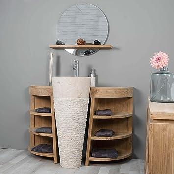 wanda collection Mueble para Cuarto de baño de Teca Florencia 120 cm + Lavabo Crema: Amazon.es: Hogar