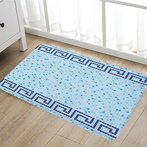 Aqua bath mats for bathroom Antique Greek Border Mosaic Tile Squares Abstract Swimming Pool Design door mats for inside Non Slip Backing20