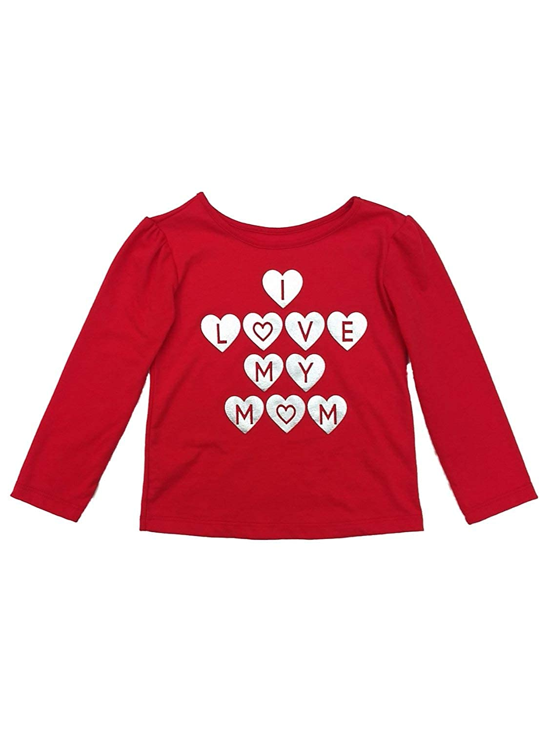 Valentine Toddler Girls Red I Love My Mom Day T-Shirt Long Sleeve Top