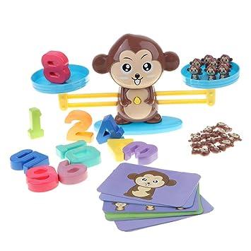 Homyl Juguete de Báscula de Equilibrio de Mono de Dibujos Animados Juego para Aprendizaje de Matemáticas