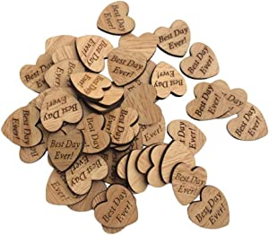 Vpang 100 Pcs Rustic Wood Heart Shaped Embellishments Letters Wooden Heart Confetti for DIY Crafts Wedding Decor (Best Day Ever)