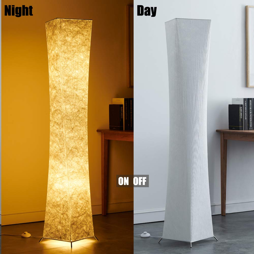 Floor Lamp, CHIPHY Tall Lamps, Color Changing and Dimmable Smart RGB LED Bulbs, Remote Control and White Fabric Shade, Modern Standing Light for Living Room, Bedroom and Office(10''10''61 inches) by chiphy (Image #5)